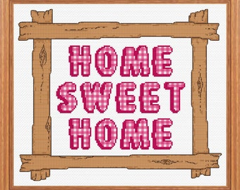 Home Sweet Home Pink Gingham Traditional Sampler Cross Stitch PDF Pattern