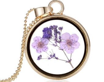 Dried Flower Floating Pendant Necklace