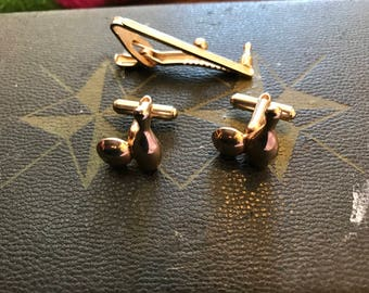 Vintage Mid Century Bowling Cuff Links and Tie Clip, Gold Tone