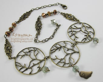 Bramble; Charming Adjustable Woodland Necklace Inspired by Swirling Filigree and Branch Findings with Moss and Copper Faceted Glass Accents