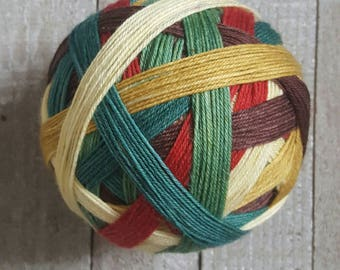 DYED TO ORDER: Hand Dyed, Self Striping Sock Yarn ~ Vintage Christmas