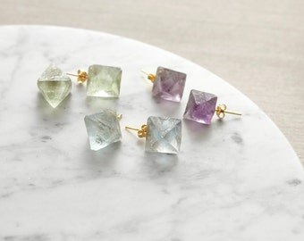 Gold Plated Polygon Natural Flourite Earring Studs