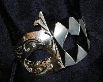 White, Black and Silver Men's Mask