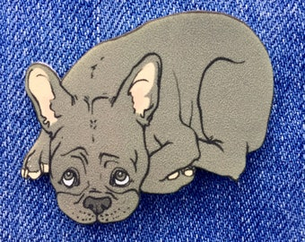 Blue Frenchie Pin --- pets/dogs/french bulldog/pins/animals