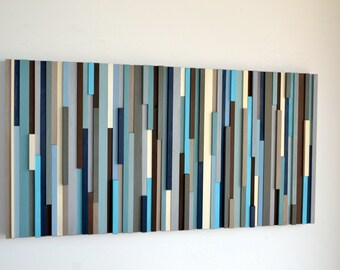Wood Sculpture Wall Art - Lines - 24 x 48