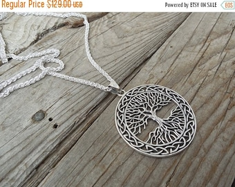 ON SALE Large Celtic tree of life necklace handmade in sterling silver