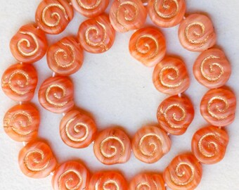Small Snail Shell Bead - Czech Glass Beads - 9mm x 8mm - Various Colors - Qty 25