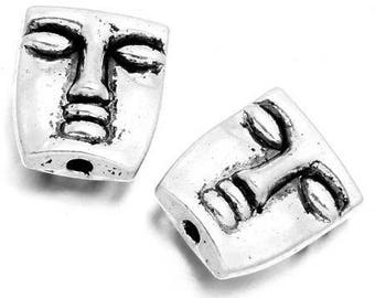 5 beads antique silver metal, head of inca 3D 12 * 10mm