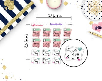 Essay Stickers - Paper Due Stickers - Kawaii Stickers - Teacher Stickers - School Stickers - Planner Stickers - Happy Planner - Life Planner