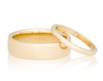 Wedding Band Set 2mm and 6mm 14K Gold Wedding Rings