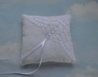 Off white linen ring pillow. Wedding ring cushion.