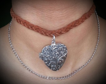 Braided Suede Choker with Locket