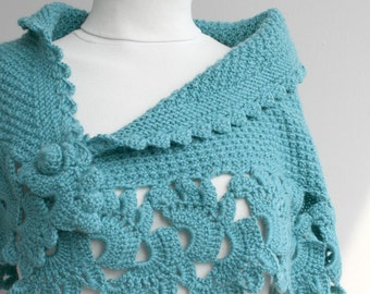 Hand Knitted Turquoise Capelet / Shawl / Handmade / Gift for her / Christmas gift