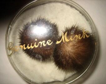Vintage 60s Genuine Mink Earrings Pom Pom Clip On Chocolate Brown
