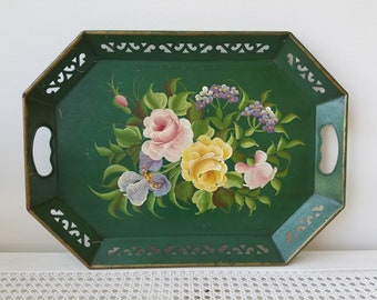 Vintage Metal Tray Green Handpainted Floral Toleware 13 x 18 Reticulated Oblong With Handles, Pink Lavender Yellow Flowers, Bohemian Cottage