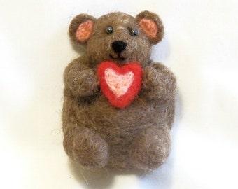 Koelkast magneet - Teddy Bear - naald vilten dragen - de Gift van de Valentijnskaart - naaldvilt Animal - grote magneet - keuken Decor - Office Decor