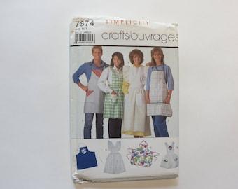 Simplicity Crafts Pattern #7874: Vintage 1980s Apron Assortment, 1 Size UNCUT