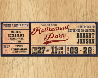 Vintage Baseball Retirement Party Invitations - Personalized / Digital file - Print It Yourself – DIY - Download Custom OR004