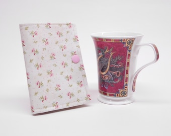 green pink tea wallet, shabby chic travel tea bag holder, floral tea bag caddy, stocking stuffer, Mothers Day gift under 10, tea lovers gift