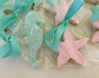 Pastel Seahorse and Starfish Cookies | Under the Sea Theme