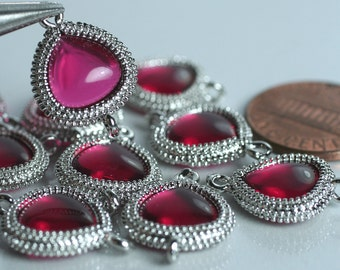 Framed ruby red glass drop charm connector, earring componenet, necklace pendant, 2 pcs (item ID G159N15SP)