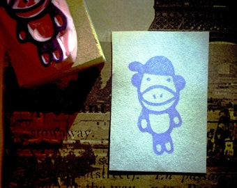 Sock monkey  - hand carved rubber stamp