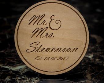 Engraved Coaster Set, Personalized Wood Coasters, Wedding Gift, Wedding Favor, Custom Coaster