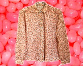70s Orange/Peach Floral Button Up Shirt