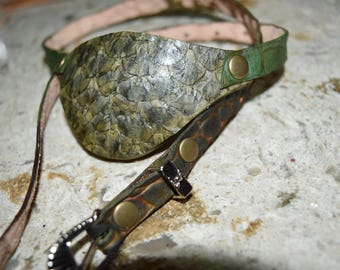 Green Dragon scale Leather eye patch with adjustable buckle - will work for medical use not touching the eye
