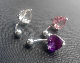 Heart Belly ring, belly button ring, gift for her, custom charm belly ring