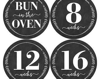 Chalkboard Pregnancy Stickers, Chalkboard Belly Sticker, Pregnancy Milestone Sticker, Wreath Belly Stickers, Belly Bump Sticker, Baby Shower