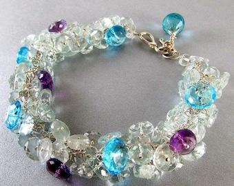 15% Off Aquamarine and Quartz Sterling Wire Wrapped Bracelet