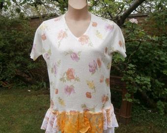 SALE - Upcycled Sweater Dress 'Mango Blossom' - UK size 14 - US size 10 - White Orange Purple Green Flower Print Chiffon Lace Skirt
