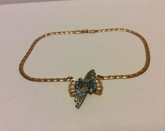 Aqua Rhinestone Necklace