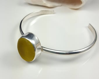 Yellow Sea Glass Bracelet Sea Glass Jewelry Yellow Sea Glass Sterling Silver Cuff Bracelet Beach Glass Jewelry B-266 Mothers Day Gift