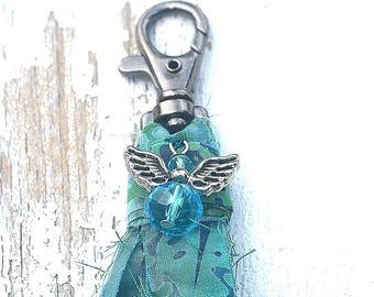 Batik Fabric Tassel/ Zipper Pull/ Angle Charm Tassel/ Nine inches long/ Key Chain Tassel/ Batik Fabric/ Ready to Ship