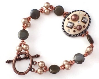 Copper Bracelet Featuring Vintage Focal, Czech Grey Beads and Rose Gold Swarovski Pearls