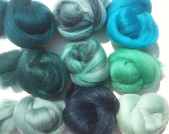 Felting Wools - Merino Wool Tops - Ocean pack of 9