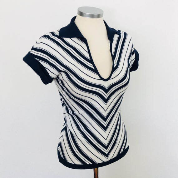vintage knitwear, cotton sweater, 1930s style, nautical, chevron knit, blue white, fine knit, 20s riviera, 70s does 30s, small, 8