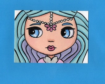 ACEO Original Miniature Painting Blythe doll face Princess Samira from shimmer & shine Art Artist Trading Card