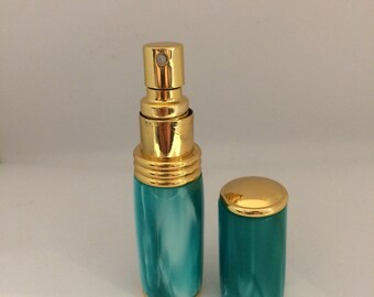Bespoke Handturned handmade turquois/ green acrylic perfume/aftershave atomiser perfume bottle valentines gifts
