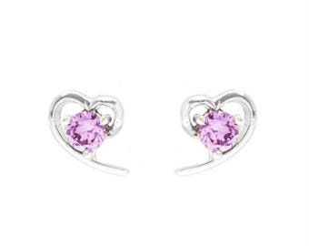 Purple Crystal Heart Studs