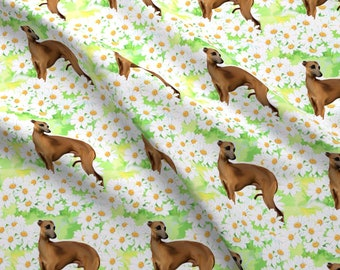 Greyhound Fabric - Italian Greyhound And Daisies Fabric By Dogdaze - Daisies Floral Dog Painting Cotton Fabric By The Yard With Spoonflower