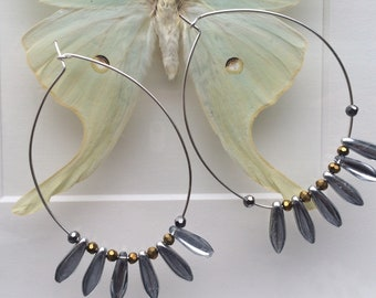 Hematite and glass hoops