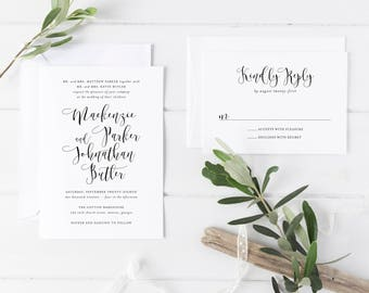 Printable Wedding Invitation Suite | Calligraphy Invitation Set | Minimalist Modern Wedding Invitations | Cheap Invitations | WI-030