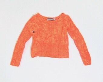 Wide neck cropped orange 90s sweater