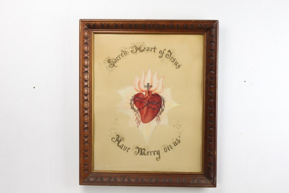 Antique Painting - Sacred Heart - Roman Catholic - Crown of Thorns - Cross - Late 19th Century - Ink & Pigments on Paper - Under Glass