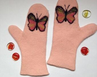 FELTED MITTENS - Handmade - Merino wool mittens