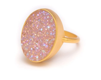 Aurora Borealis Druzy Ring - Gold Ring - Druzy in Gold Ring - Druzy / Drusy Quartz - Available in Sizes 5, 6, 7 and 8