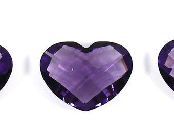 Lot of 3 Pcs, 20x15mm Heart shape, Faceted Briolette, Amethyst Color Quartz, Purple Color, Checkerboard Loose Gemstone
